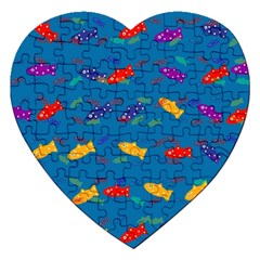 Fish Blue Background Pattern Texture Jigsaw Puzzle (heart)