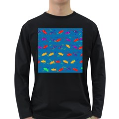 Fish Blue Background Pattern Texture Long Sleeve Dark T Shirts