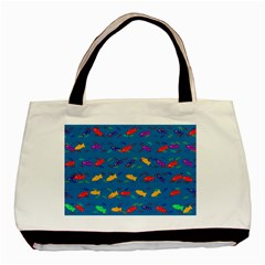 Fish Blue Background Pattern Texture Basic Tote Bag