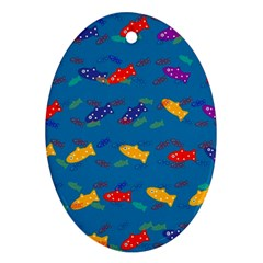 Fish Blue Background Pattern Texture Oval Ornament (two Sides)