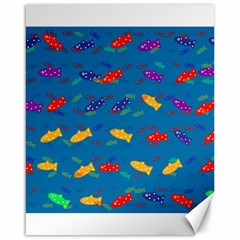 Fish Blue Background Pattern Texture Canvas 16  X 20