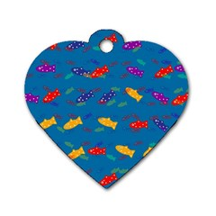 Fish Blue Background Pattern Texture Dog Tag Heart (two Sides)