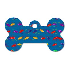 Fish Blue Background Pattern Texture Dog Tag Bone (two Sides)