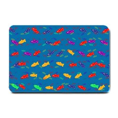 Fish Blue Background Pattern Texture Small Doormat