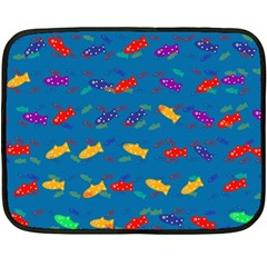 Fish Blue Background Pattern Texture Double Sided Fleece Blanket (mini)