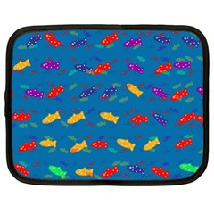 Fish Blue Background Pattern Texture Netbook Case (xl)  by Nexatart
