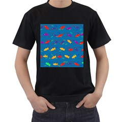 Fish Blue Background Pattern Texture Men s T Shirt (black)