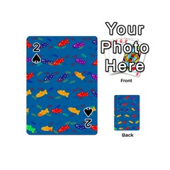 Fish Blue Background Pattern Texture Playing Cards 54 (mini)