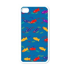 Fish Blue Background Pattern Texture Apple Iphone 4 Case (white)