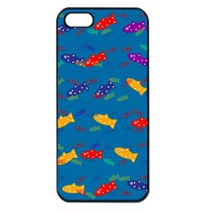 Fish Blue Background Pattern Texture Apple Iphone 5 Seamless Case (black)