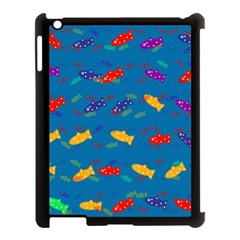 Fish Blue Background Pattern Texture Apple Ipad 3/4 Case (black)