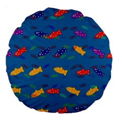 Fish Blue Background Pattern Texture Large 18  Premium Round Cushions by Nexatart