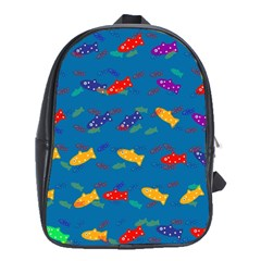 Fish Blue Background Pattern Texture School Bag (xl)