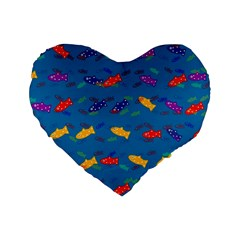 Fish Blue Background Pattern Texture Standard 16  Premium Heart Shape Cushions