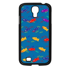 Fish Blue Background Pattern Texture Samsung Galaxy S4 I9500/ I9505 Case (black)