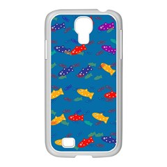 Fish Blue Background Pattern Texture Samsung Galaxy S4 I9500/ I9505 Case (white)