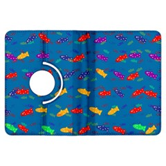 Fish Blue Background Pattern Texture Kindle Fire Hdx Flip 360 Case by Nexatart