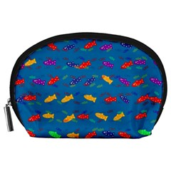 Fish Blue Background Pattern Texture Accessory Pouches (large)