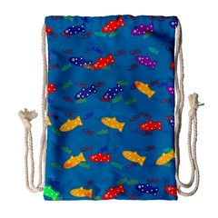 Fish Blue Background Pattern Texture Drawstring Bag (large)