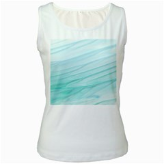 Texture Seawall Ink Wall Painting Women s White Tank Top