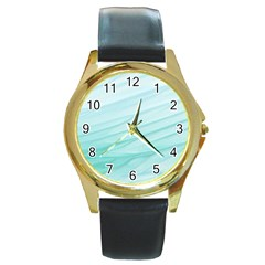 Texture Seawall Ink Wall Painting Round Gold Metal Watch