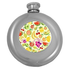 Seamless Pattern Desktop Decoration Round Hip Flask (5 Oz)