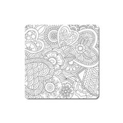 Ornament Vector Retro Square Magnet