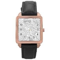 Ornament Vector Retro Rose Gold Leather Watch