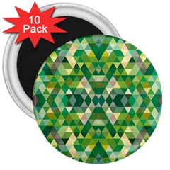 Forest Abstract Geometry Background 3  Magnets (10 Pack)