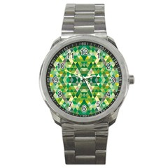 Forest Abstract Geometry Background Sport Metal Watch