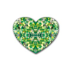 Forest Abstract Geometry Background Rubber Coaster (heart)