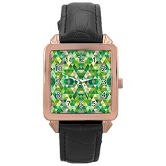 Forest Abstract Geometry Background Rose Gold Leather Watch
