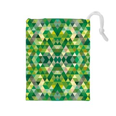 Forest Abstract Geometry Background Drawstring Pouches (large)