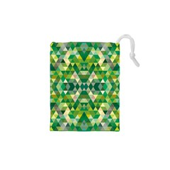 Forest Abstract Geometry Background Drawstring Pouches (xs)