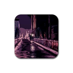 Texture Abstract Background City Rubber Coaster (square)