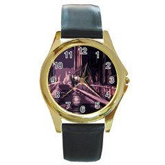 Texture Abstract Background City Round Gold Metal Watch