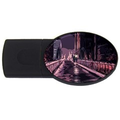 Texture Abstract Background City Usb Flash Drive Oval (2 Gb)