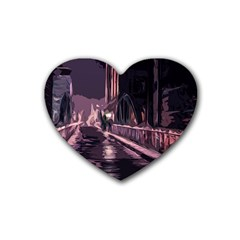 Texture Abstract Background City Rubber Coaster (heart)