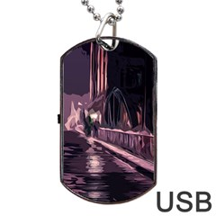 Texture Abstract Background City Dog Tag Usb Flash (one Side)