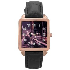 Texture Abstract Background City Rose Gold Leather Watch