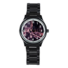 Texture Abstract Background City Stainless Steel Round Watch