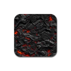 Rock Volcanic Hot Lava Burn Boil Rubber Square Coaster (4 Pack)