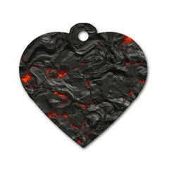 Rock Volcanic Hot Lava Burn Boil Dog Tag Heart (two Sides) by Nexatart