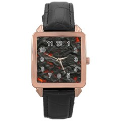 Rock Volcanic Hot Lava Burn Boil Rose Gold Leather Watch