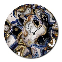 Time Abstract Dali Symbol Warp Round Mousepads