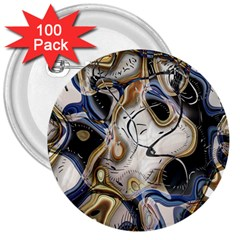 Time Abstract Dali Symbol Warp 3  Buttons (100 Pack)