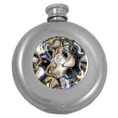 Time Abstract Dali Symbol Warp Round Hip Flask (5 Oz)
