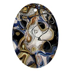 Time Abstract Dali Symbol Warp Oval Ornament (two Sides)