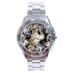 Time Abstract Dali Symbol Warp Stainless Steel Analogue Watch