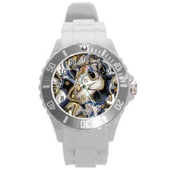 Time Abstract Dali Symbol Warp Round Plastic Sport Watch (l)